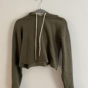 Forest Green Hoodie with White Straps - Size S